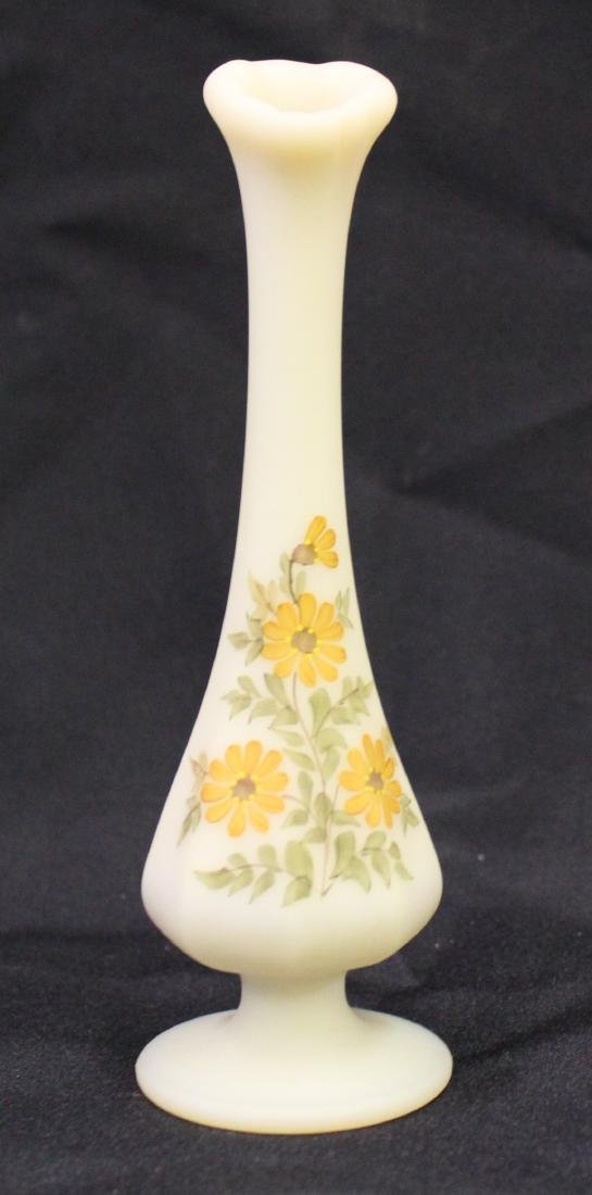 Fenton Custard Glass Vase. Artist Sgd.