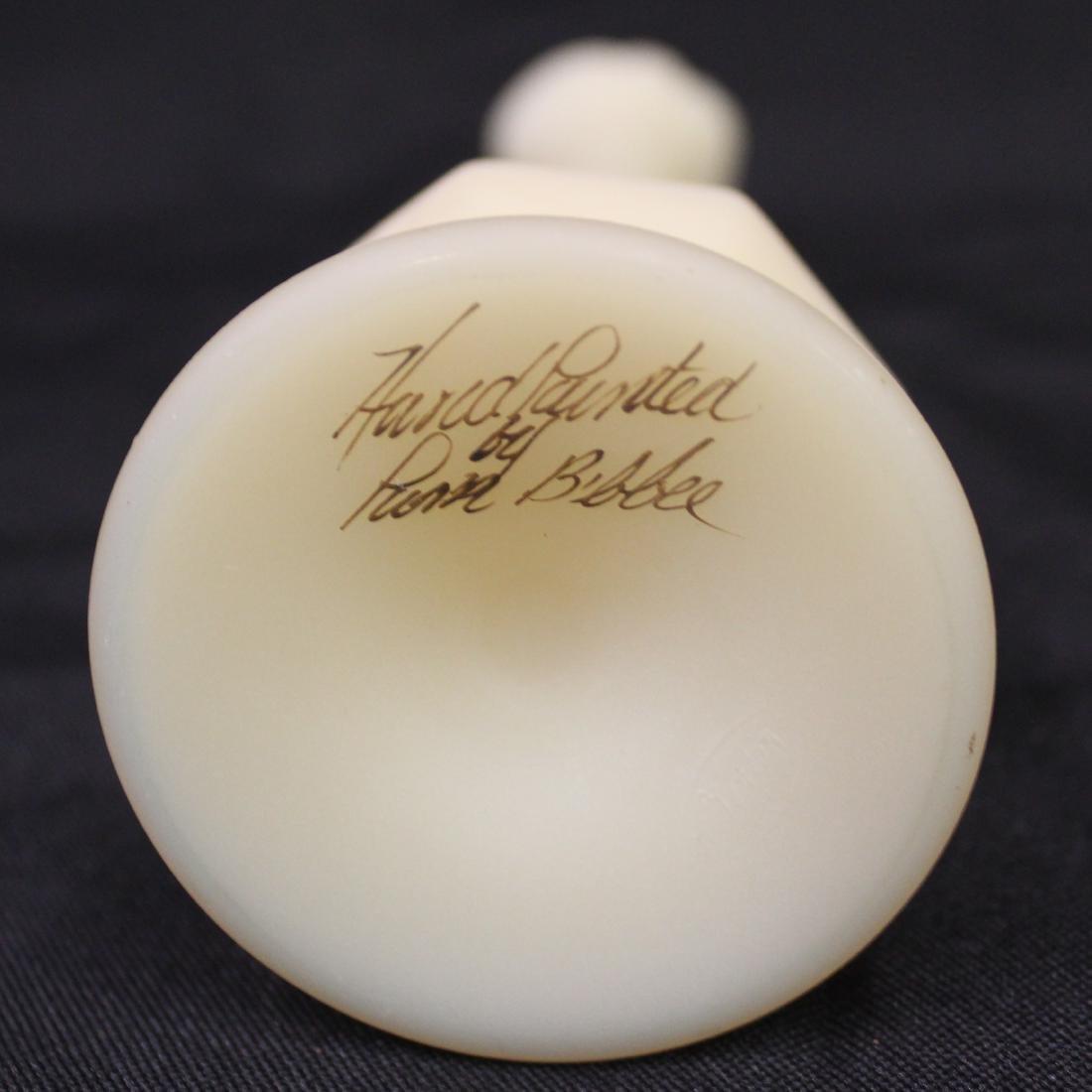 Fenton Custard Glass Vase. Artist Sgd. - 3