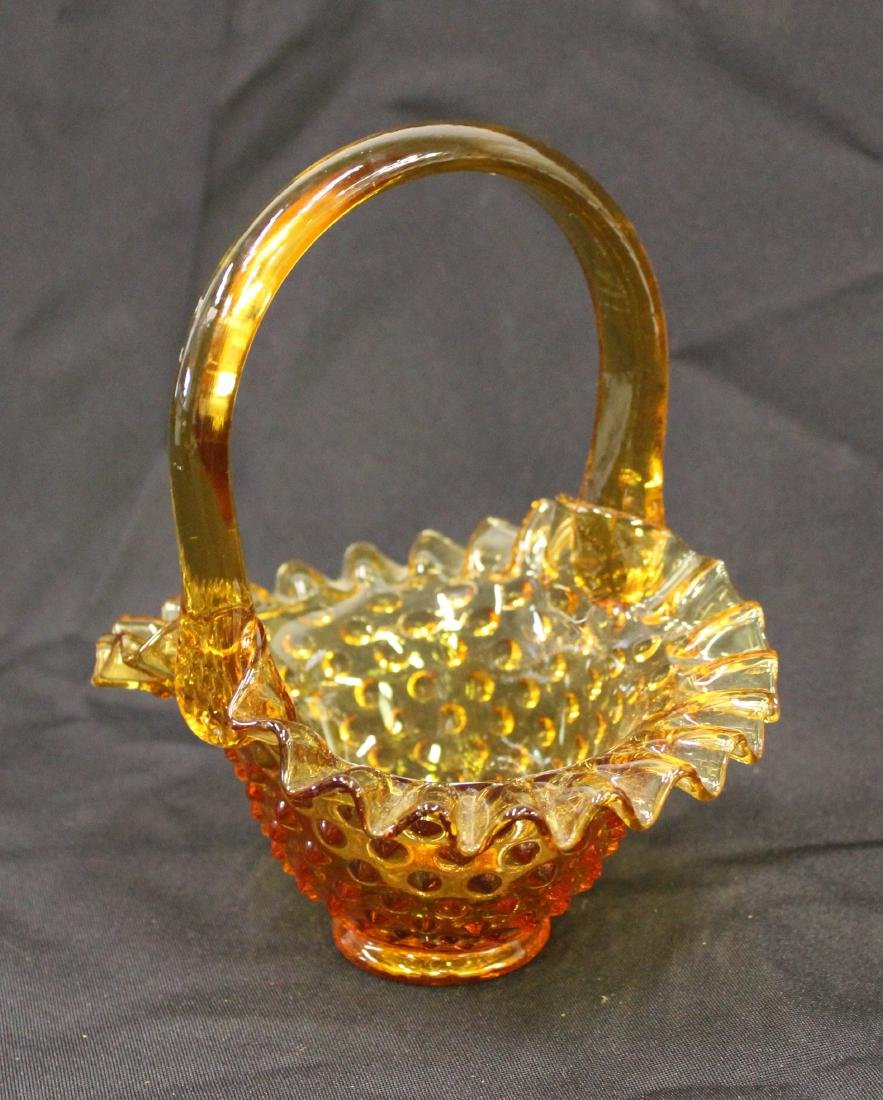 Fenton Amber Glass Hobnail Basket