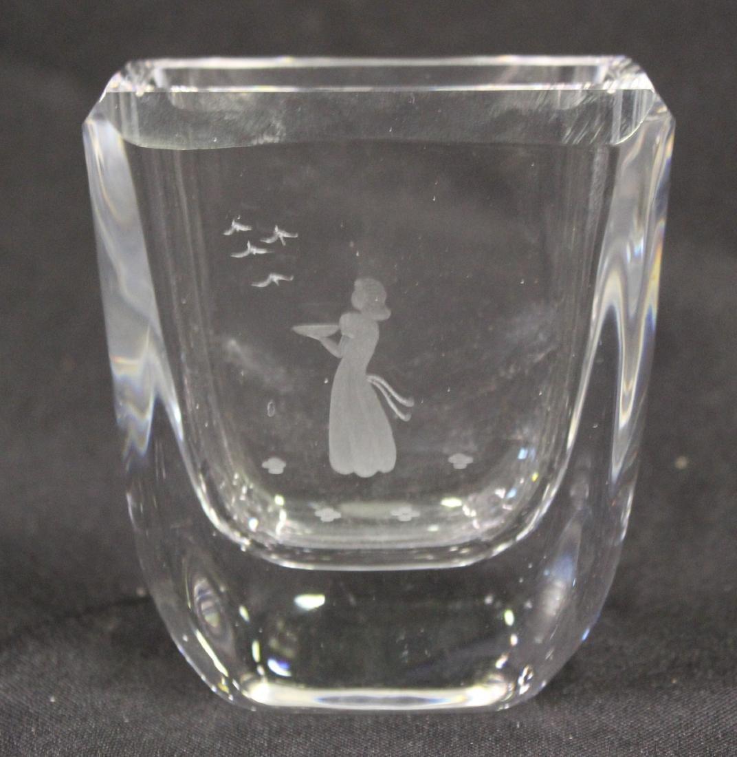 Antique Etched Glass Vase.