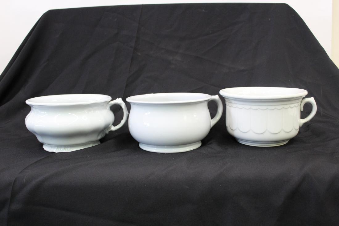 English Ironstone Chamber Pots. Three