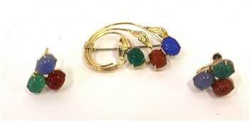 14K Gold Scarab Pin and Earrings Set