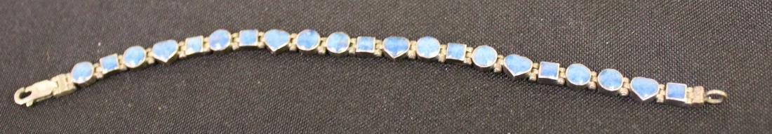 Sterling Silver Bracelet with Blue Jade