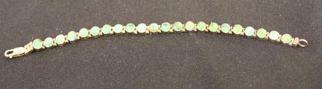 Sterling Silver Bracelet with Green Jade