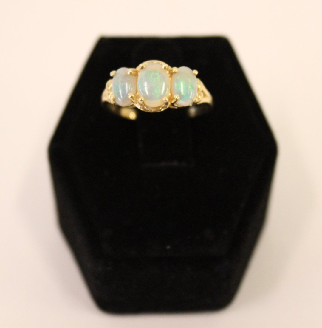 14K Gold Cocktail Ring with Three Opals