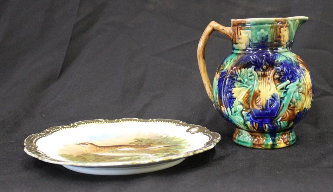 Majolica Pitcher & Bavarian Game Plate