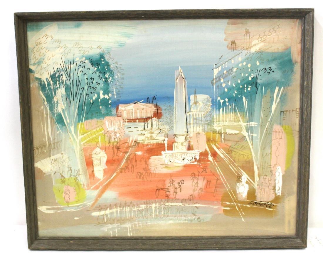 Charles Cobelle. Oil . Plaza Scene. Signed.