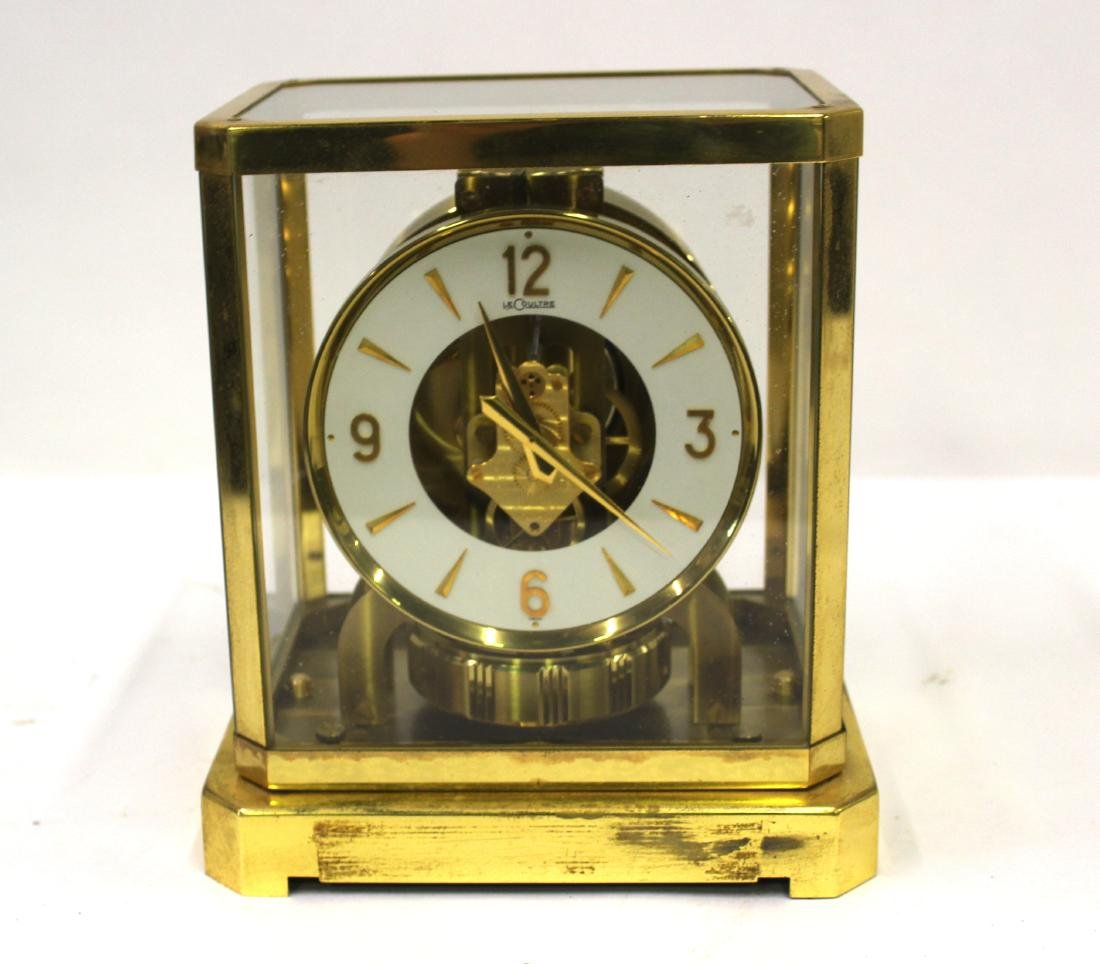 LeCoultre Brass and Glass Encased Clock