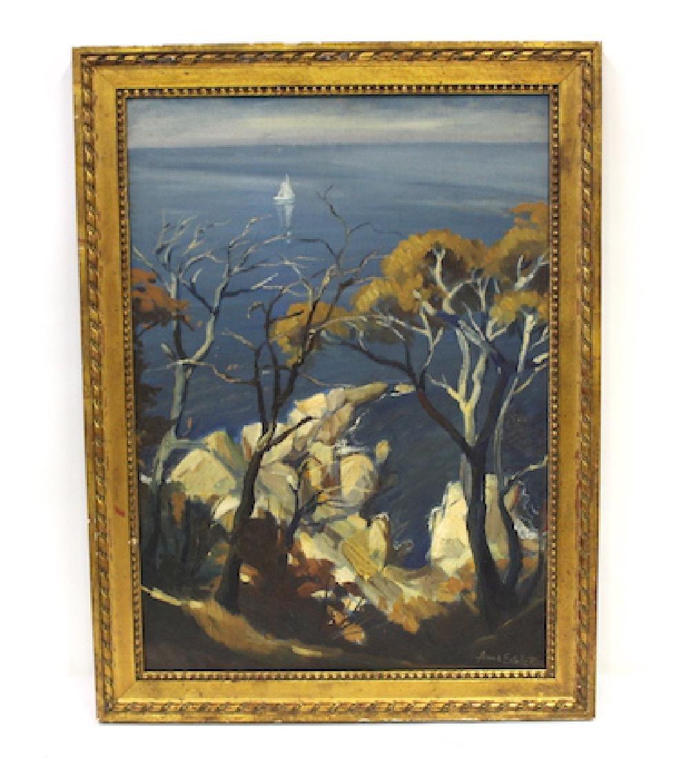 Anne Estelle Rice. Oil. Coastal Scene. Sgd.
