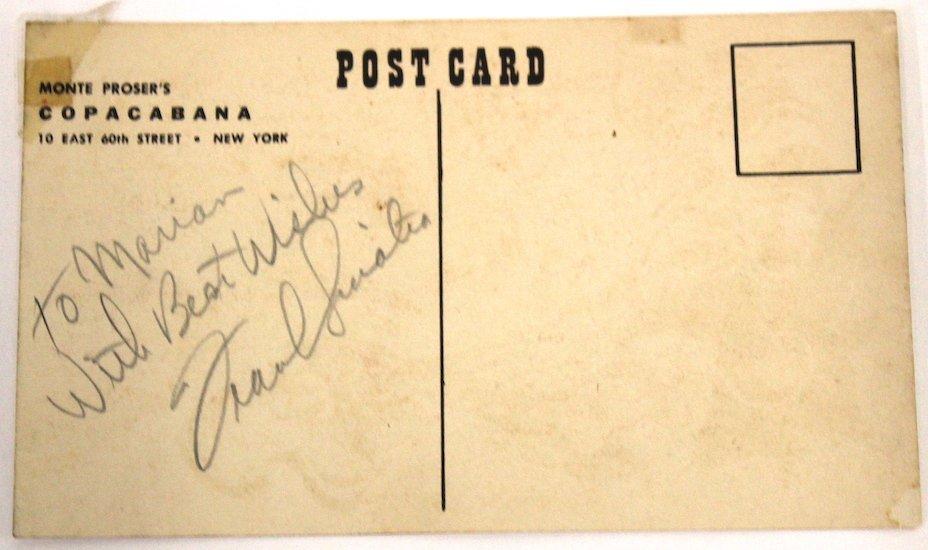 Frank Sinatra Autograph Copacabana Card