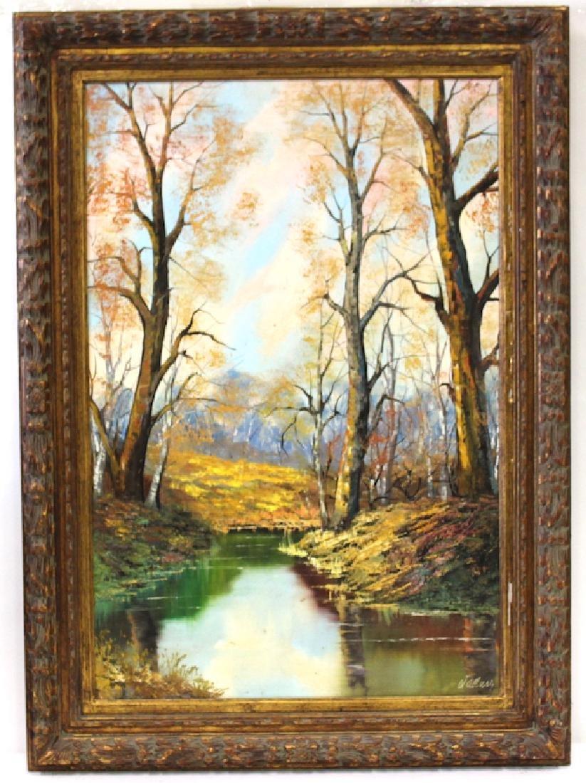 Walluer. Oil . Autumn landscape. Signed.