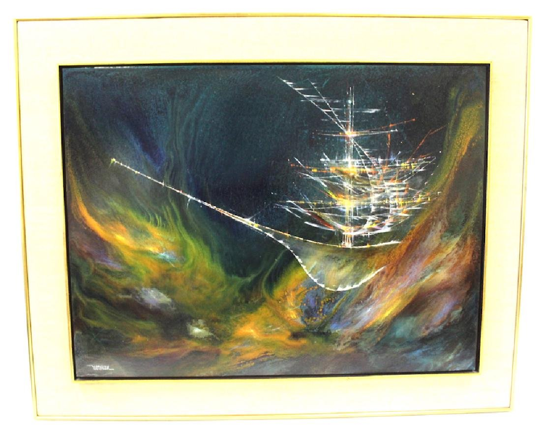"Leonardo Nierman Oil. ""Enchanted Ship"""