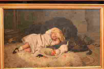 H. Emmerson.  Oil. Young Girl with Cat & Dog. Sgd.
