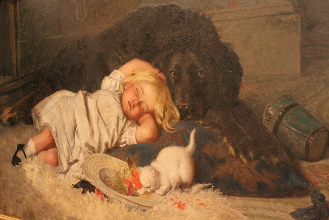 H. Emmerson.  Oil. Young Girl with Cat & Dog. Sgd. - 2