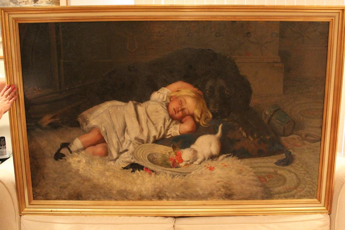 H. Emmerson.  Oil. Young Girl with Cat & Dog. Sgd. - 8