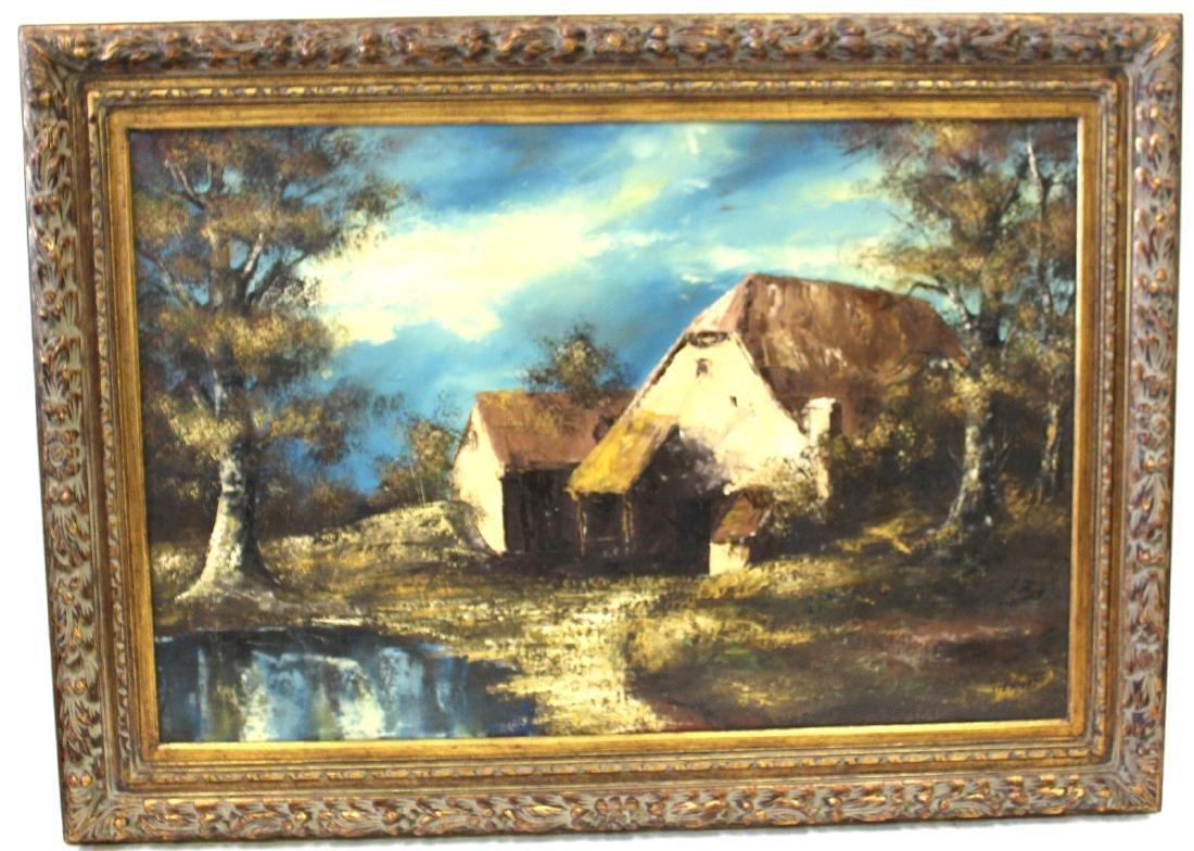 Stern.  Oil. Cottage in Landscape Setting.  Sgd.