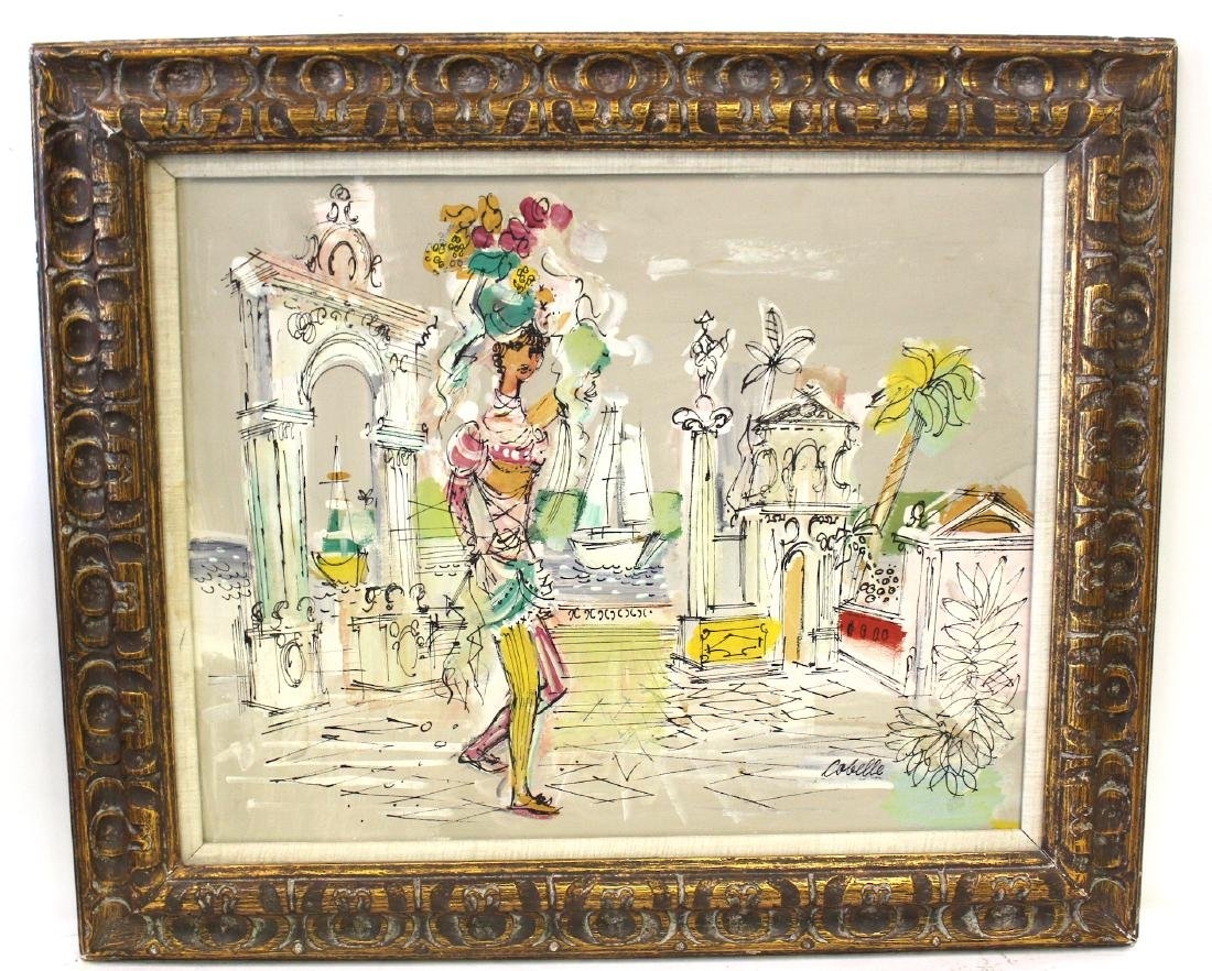 Charles Cobelle. Oil. Woman in Ancient Ruins. Sgd.
