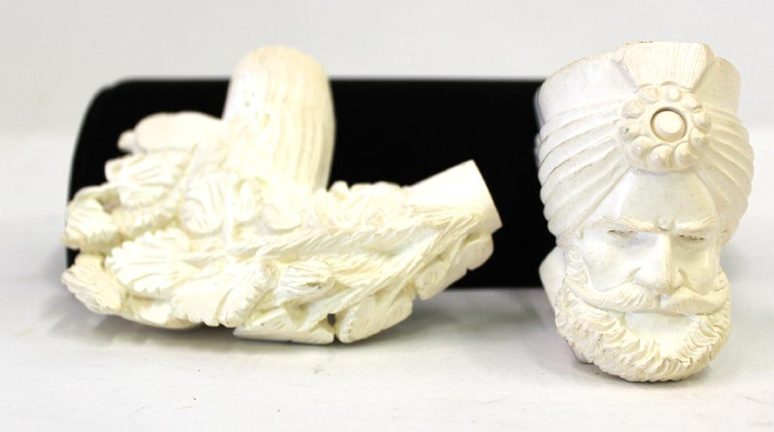 Bone Carved Figural Pipes.(2)
