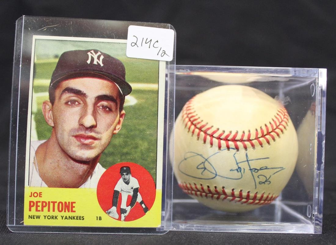 Joe Pepitone Signed Baseball & a Pepitone  Card