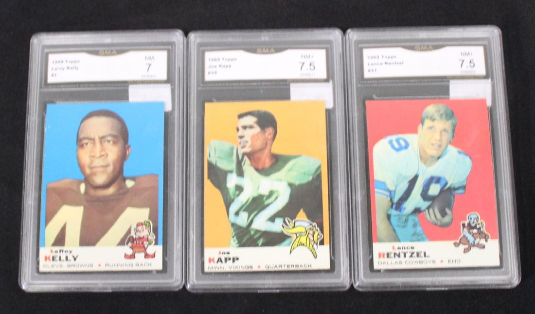 1969 Topps Lot of 3 Football Cards  Graded