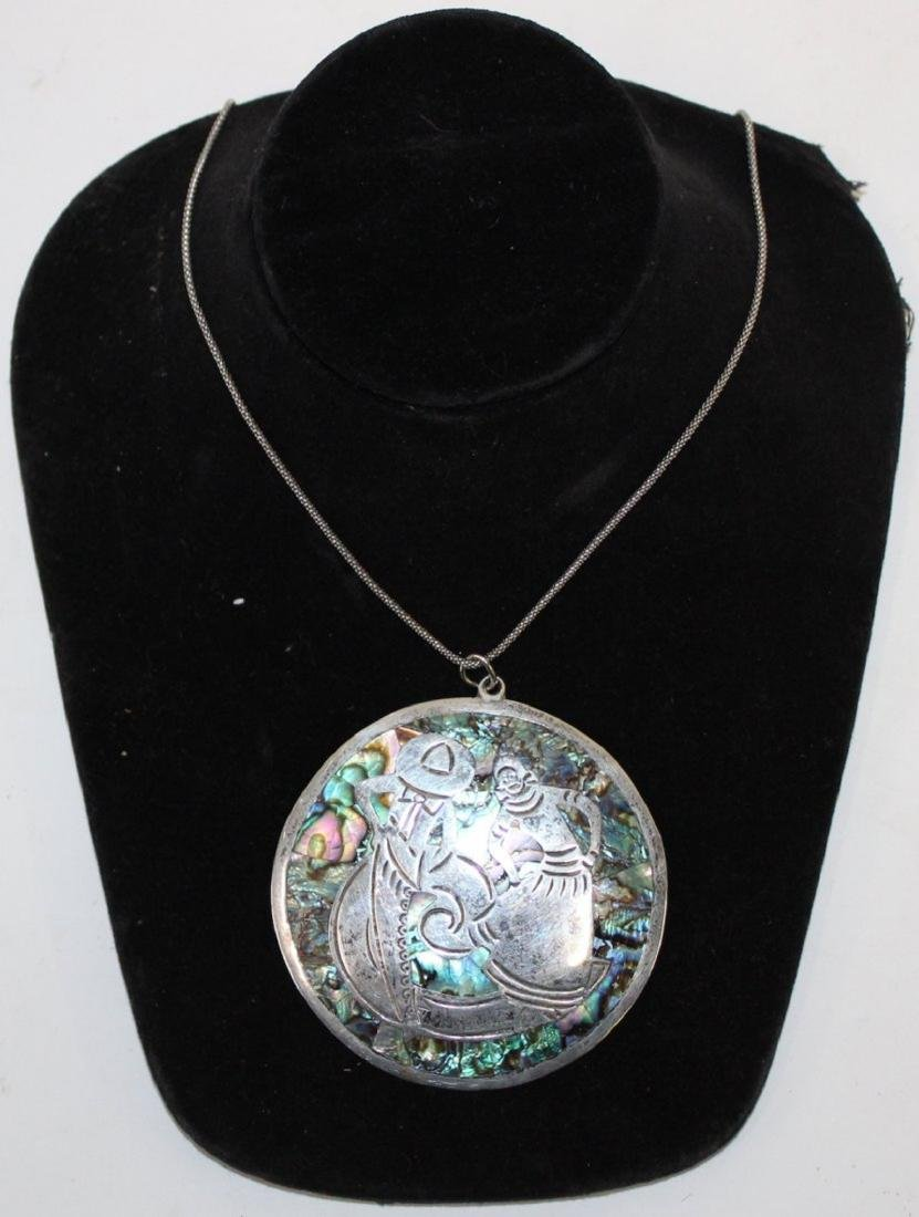 Large Mexican Sterling and Abalone Pendant