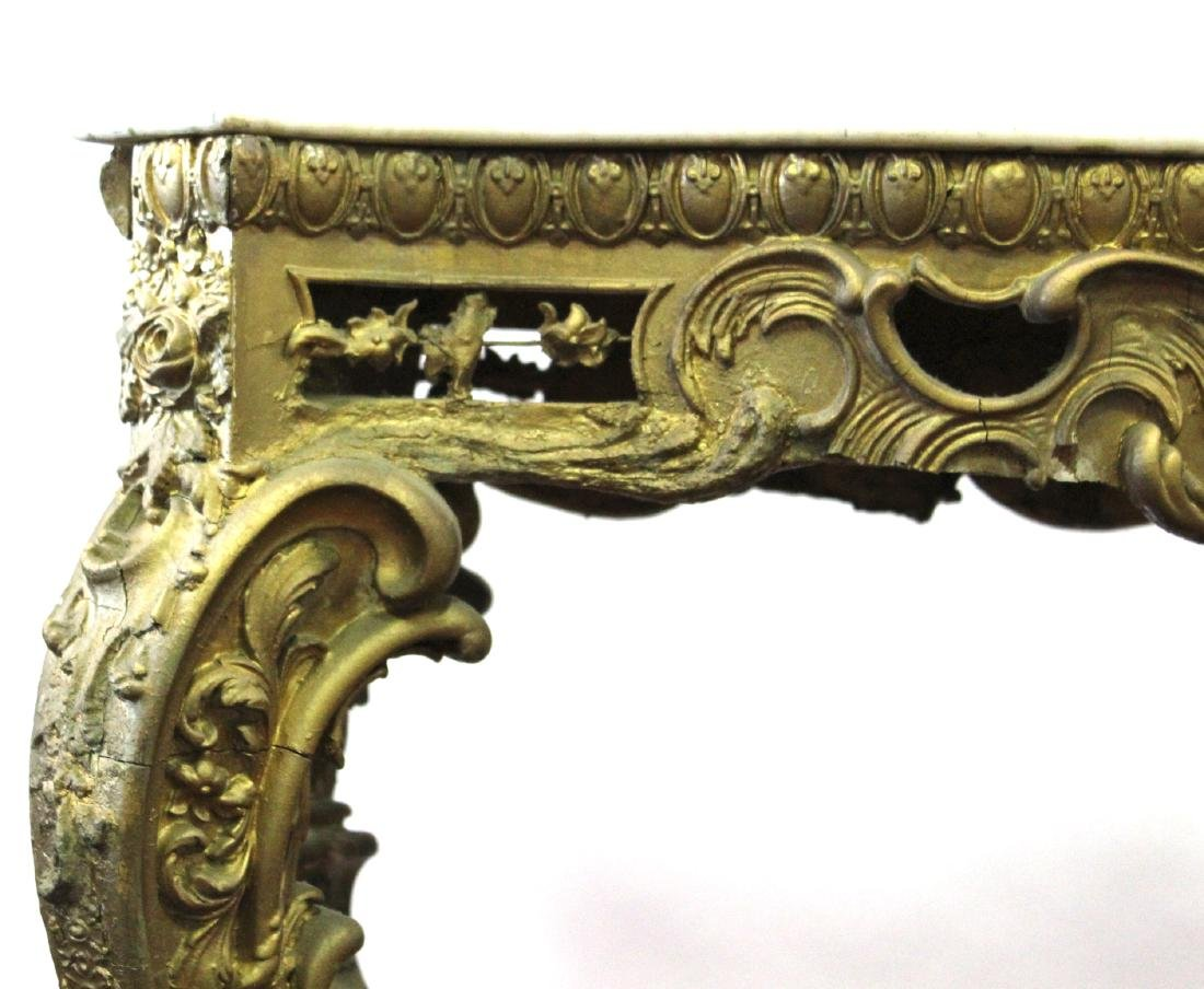 19th C. French Giltwood Console Table - 4