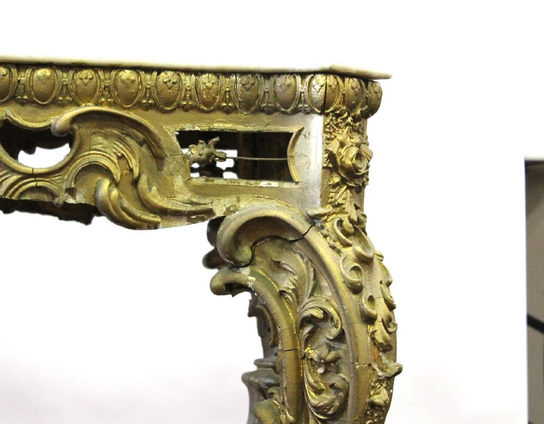 19th C. French Giltwood Console Table - 5