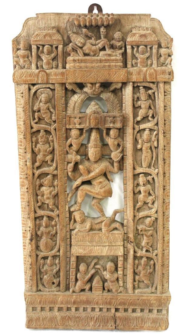 Tibetan Carved Wood Temple Panel
