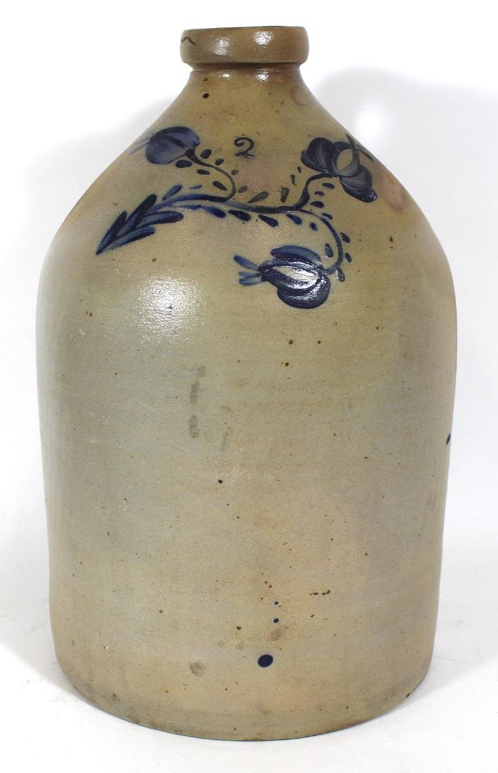 Stoneware Jug . 2 Gallon. Blue Decoration