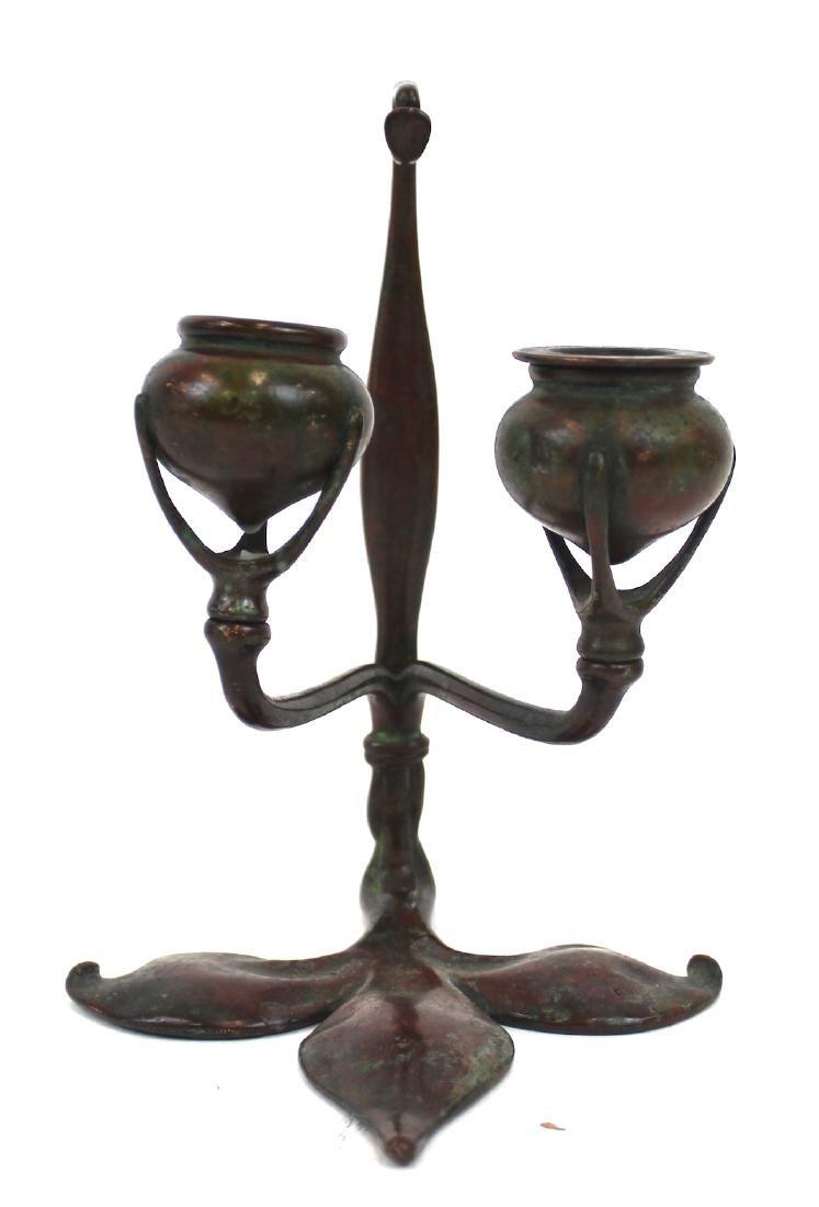 Tiffany Studios Bronze Double Candlestick