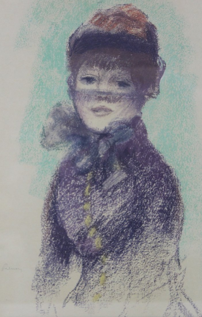 """Attr. to  Auguste Renoir Pastel """"Girl in Violet"""""""