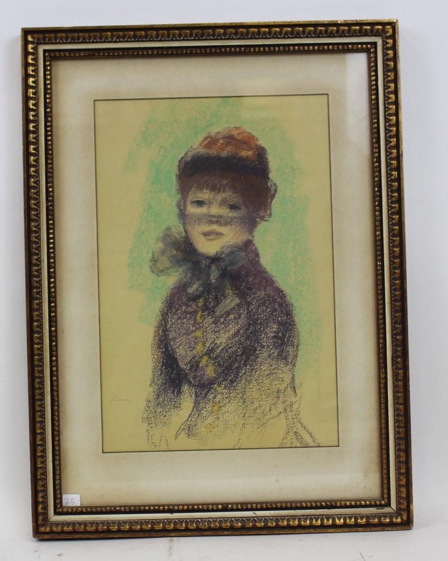 """Attr. to  Auguste Renoir Pastel """"Girl in Violet"""" - 2"""
