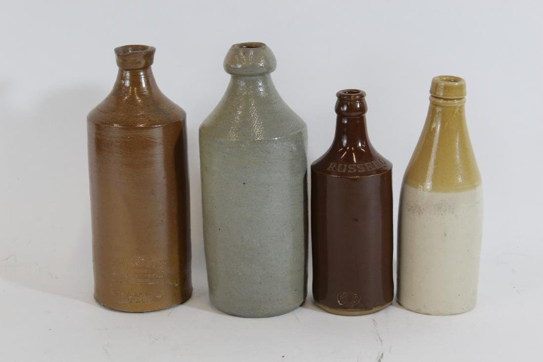 Antique Stoneware Bottle Lot. Two Marked.(4)