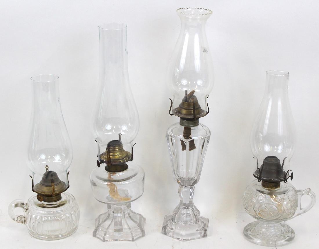 Antique Pattern Glass Oil Lamps (4)