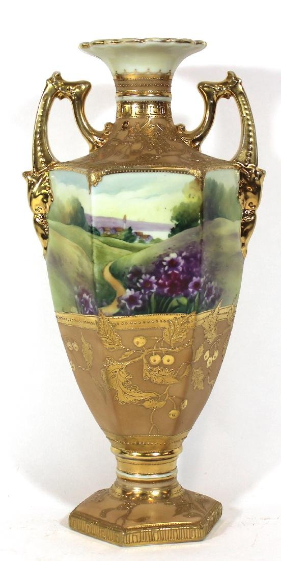 Nippon Hand Painted Gilded and Jeweled Vase
