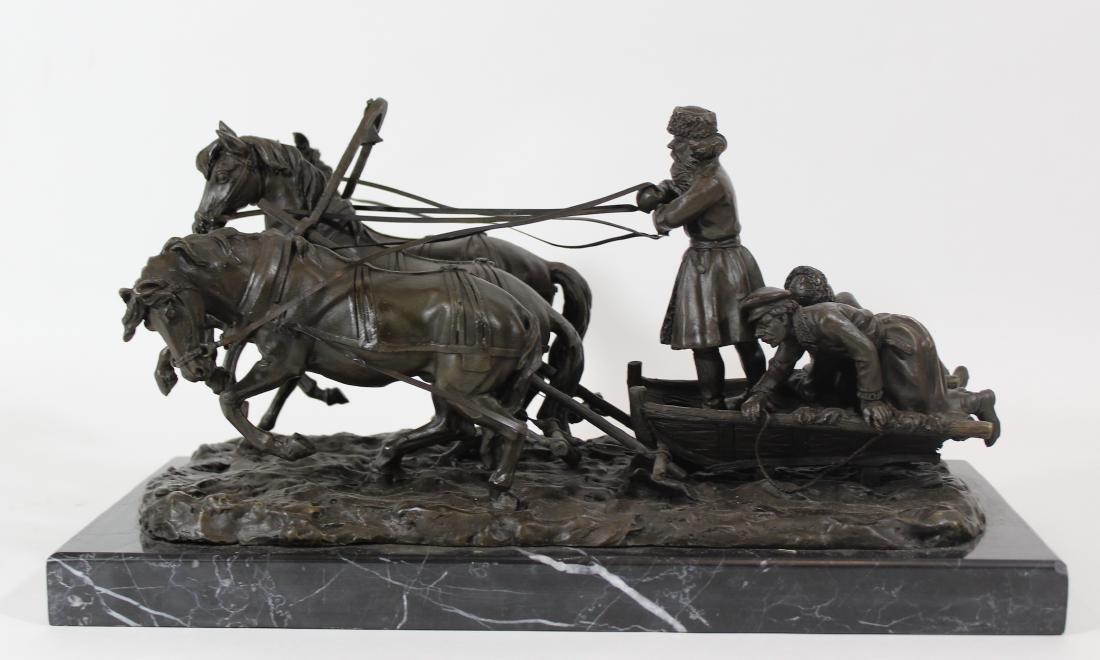 E. Halk. Russian Bronze Sculpture. Troika. .