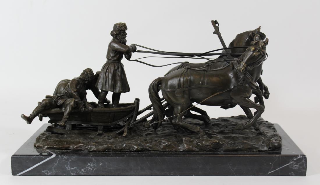 E. Halk. Russian Bronze Sculpture. Troika. . - 4