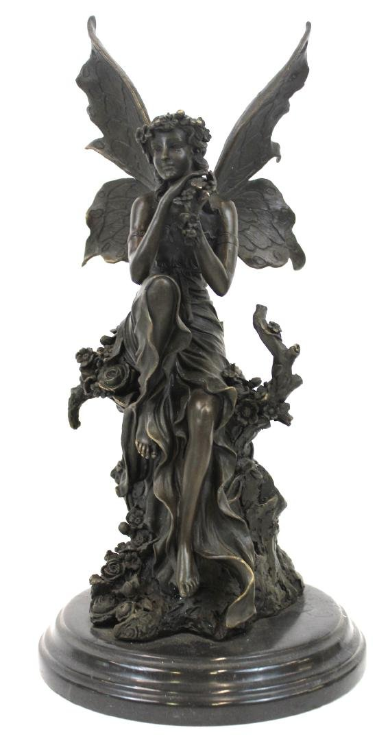 Cagaro. Bronze Winged Fairy. Marble Base