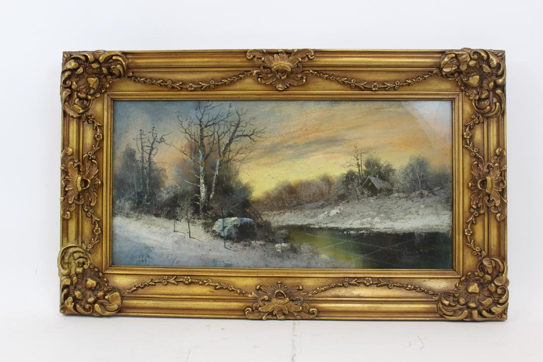 G. H. Durrie. American Pastel.Signed