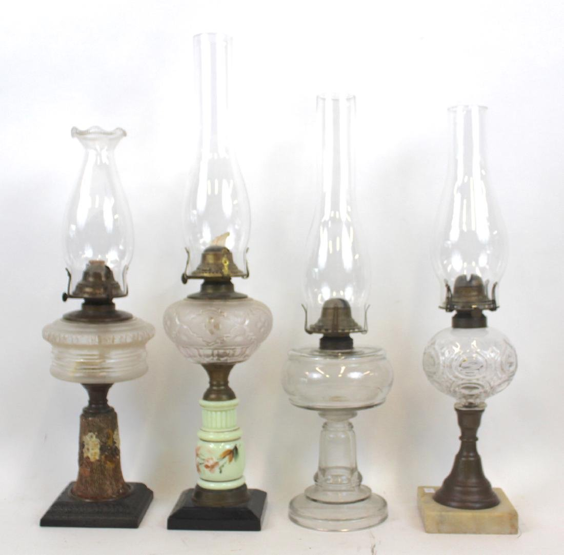 American Antique Pattern Glass Oil Lamps (4)