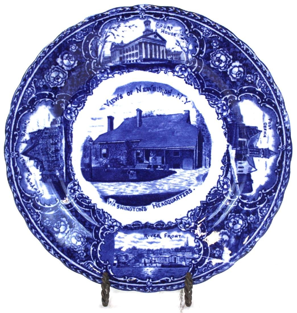 English Blue and White Newburgh, NY Plate