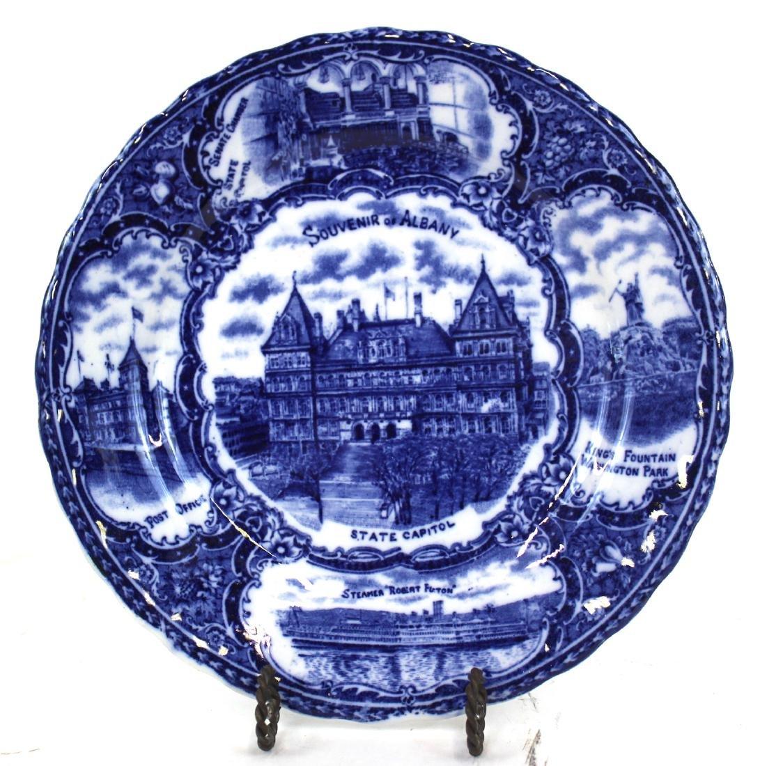 English Blue and White Albany , NY Plate