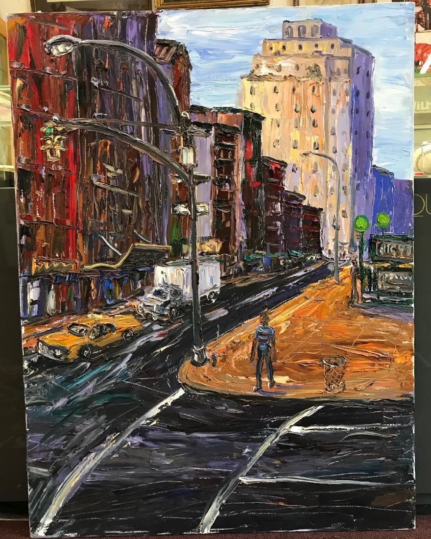 Arthur Robins. Oil. NYC. Chelsea Street Scene Sgd.