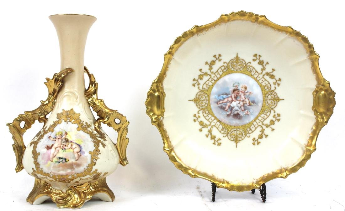 Limoges HP Gilded Bowl and HP Vase