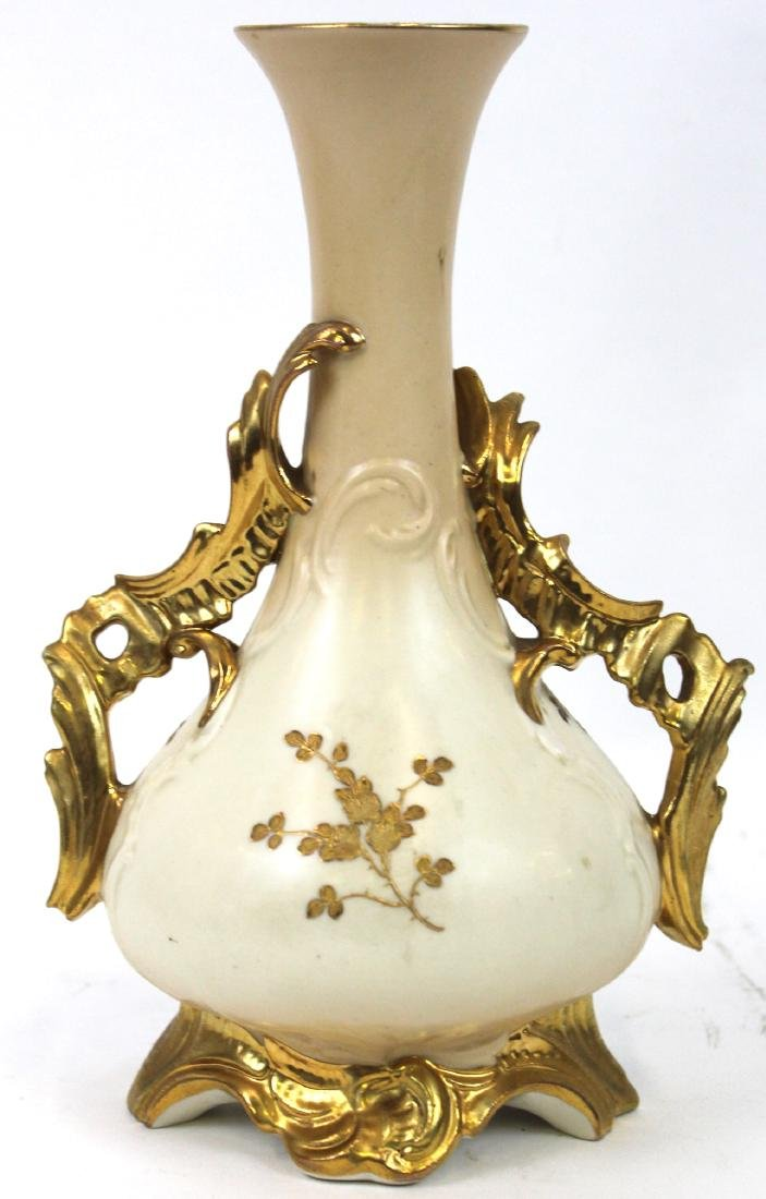 Limoges HP Gilded Bowl and HP Vase - 4