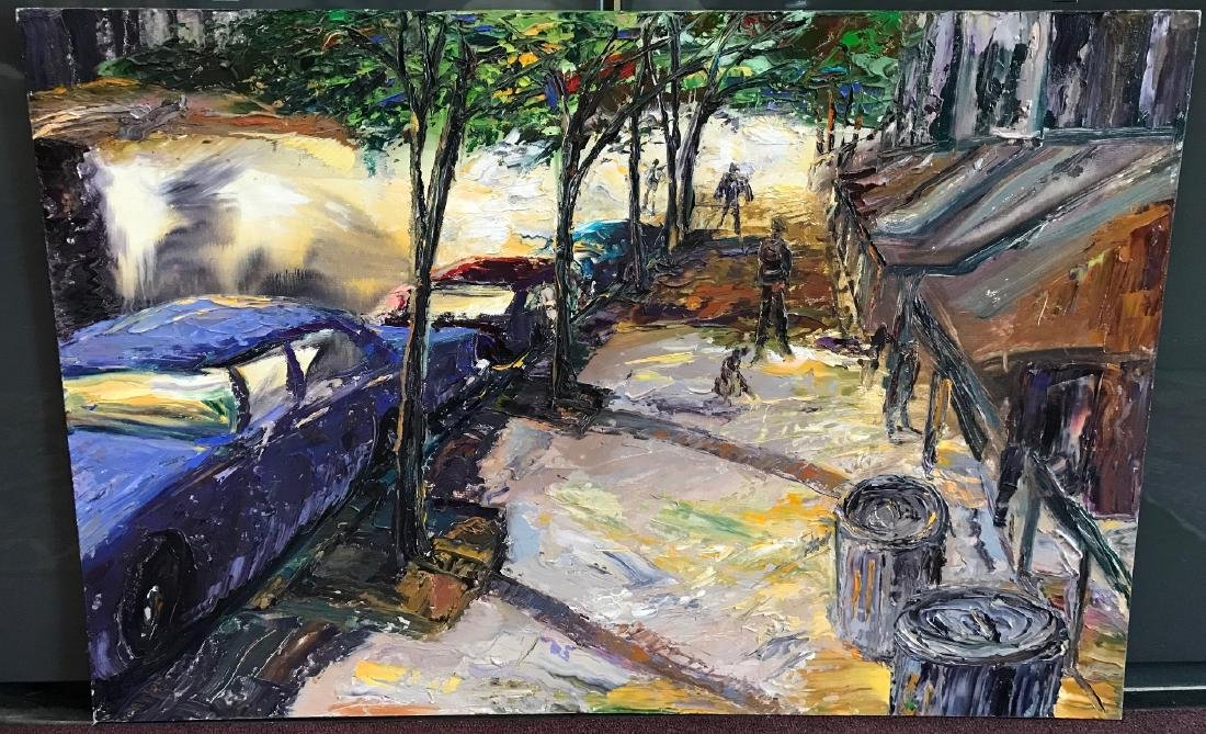 "Arthur Robins. Oil. ""Night Shadows"" East Village NYC"