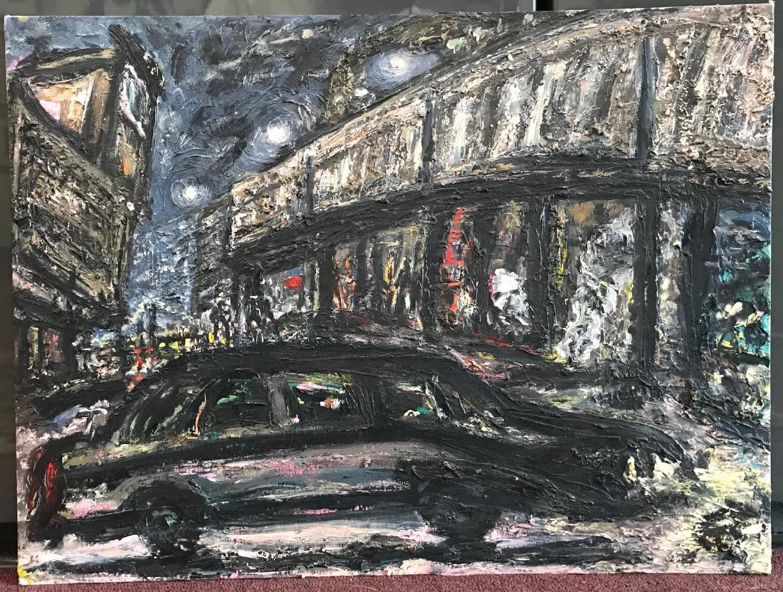 "Arthur Robins. Oil. ""Limo in Chelsea NYC"" Sgd."
