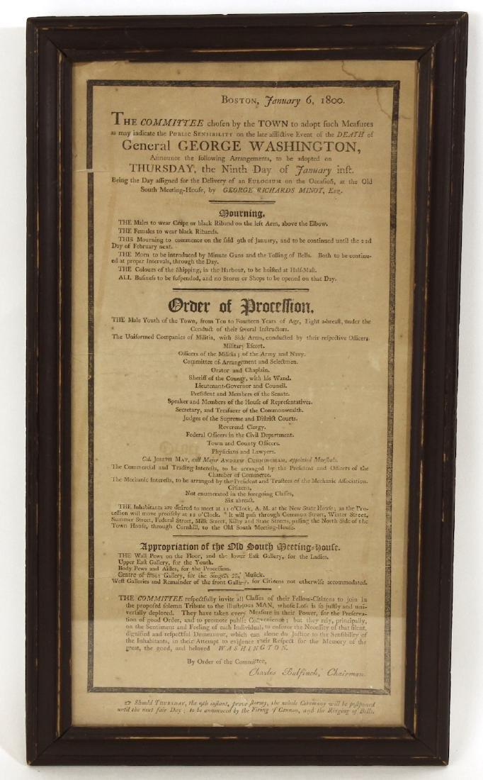 1800 George Washington Eulogy Broadside Boston