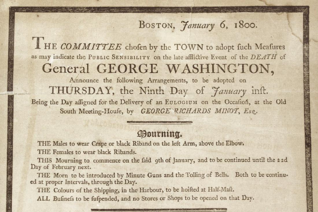 1800 George Washington Eulogy Broadside Boston - 2