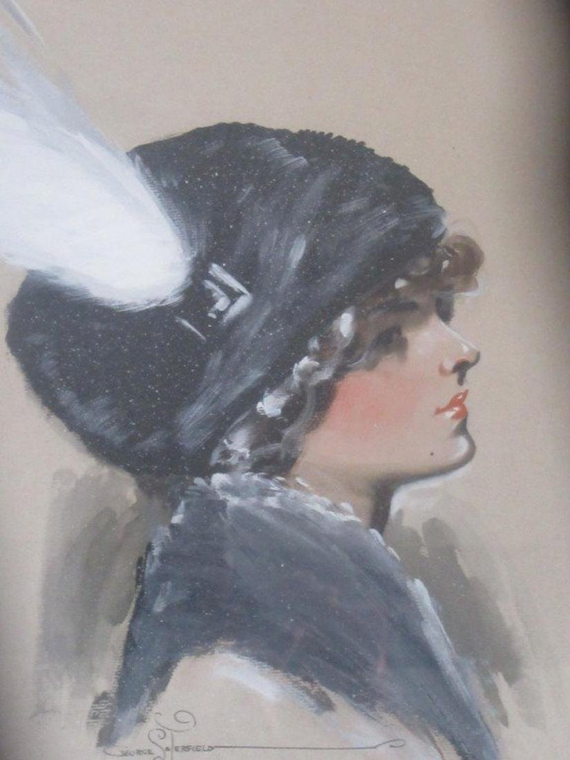 Gouache. Flapper Lady in a Cloche